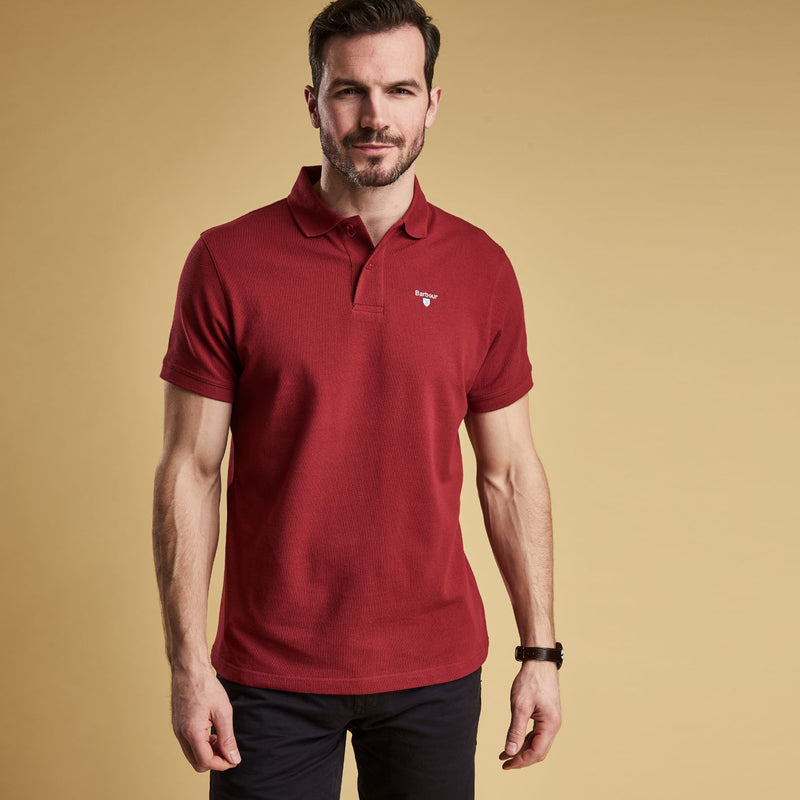 Barbour Sports Short Sleeve Polo Shirt Biking Red
