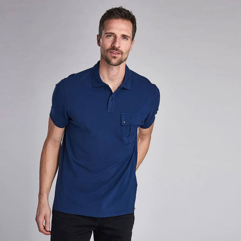 Barbour International Hud Pocket Polo Shirt Washed Regal Blue