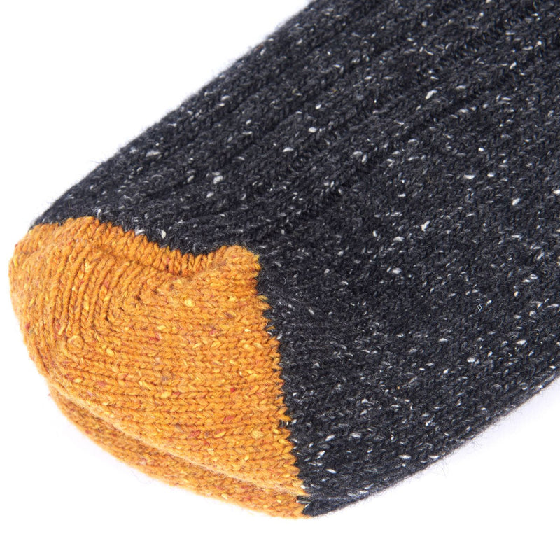 Barbour Houghton Sock Charcoal and Ochre