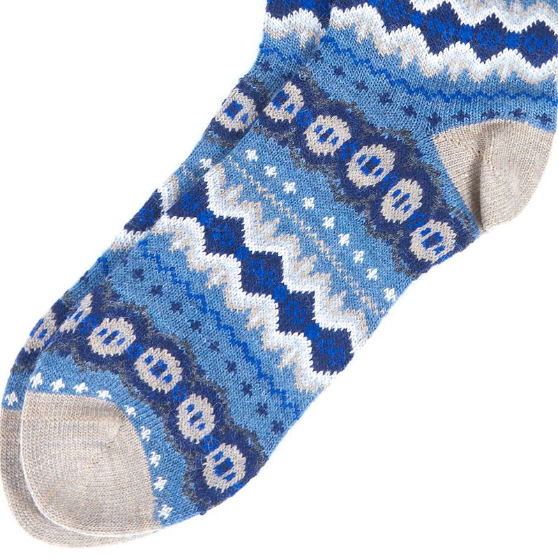 Barbour Caistown Fairisle Socks Denim Blue