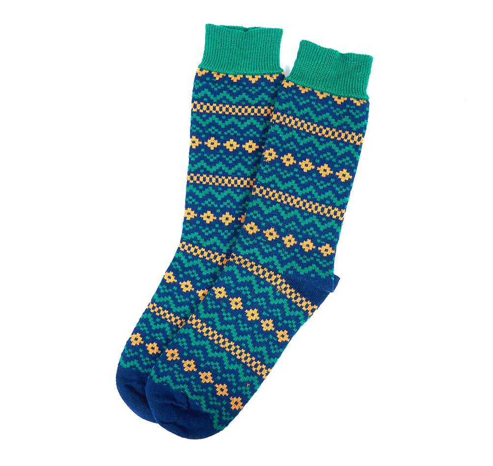 Barbour Harrow Fairisle Socks Navy and Green