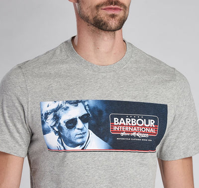 Barbour International Steve MCQueen Pinstripe T-Shirt Grey Marl