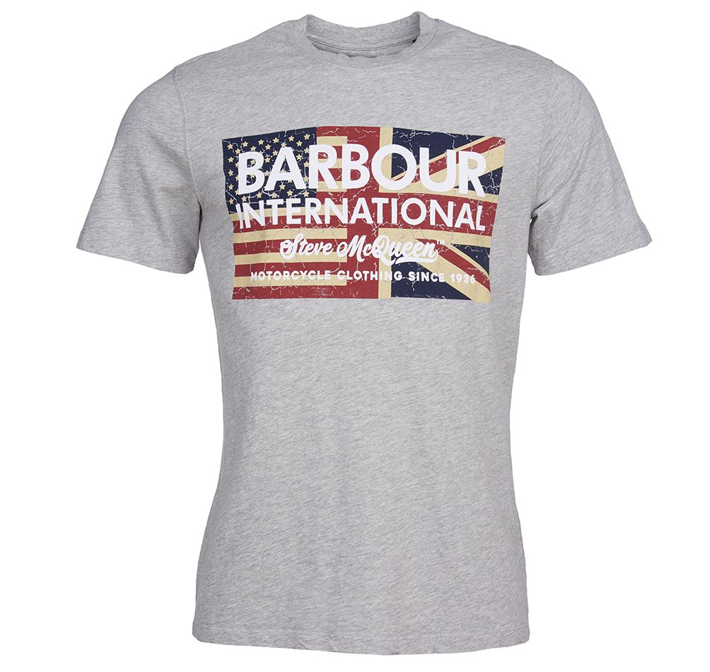 Barbour International Steve McQueen Vintage Flag T-Shirt Grey Marl