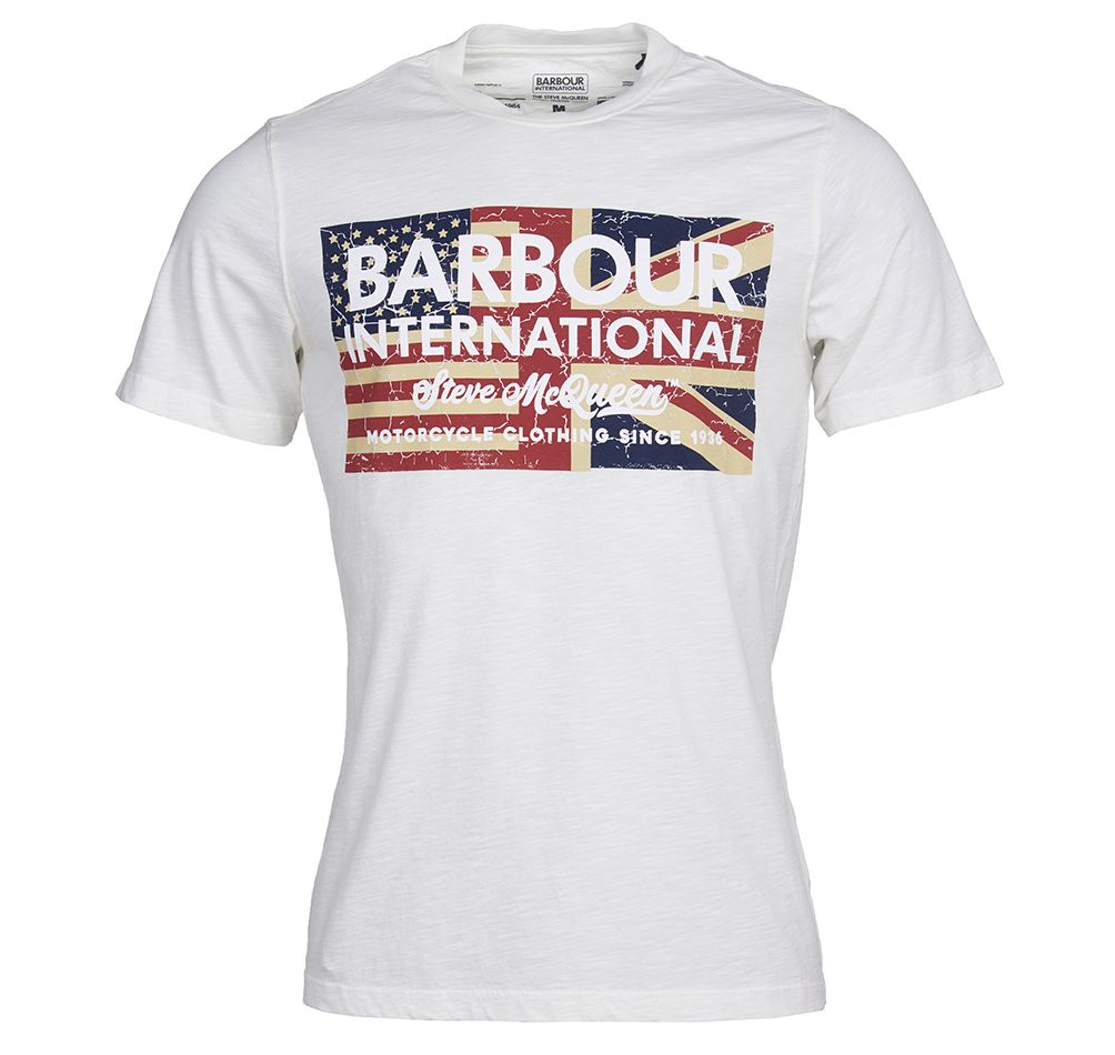 Barbour International Steve McQueen Vintage Flag T-Shirt Whisper