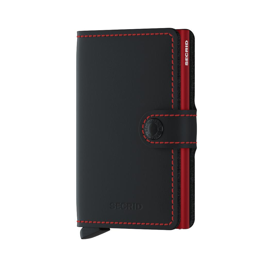 Secrid Miniwallet Matte Black and Red Leather Wallet