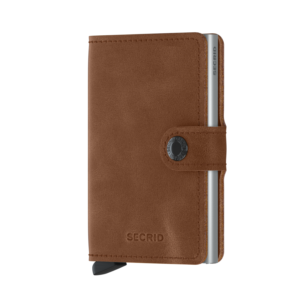 Secrid Miniwallet Vintage Cognac Silver Leather Wallet