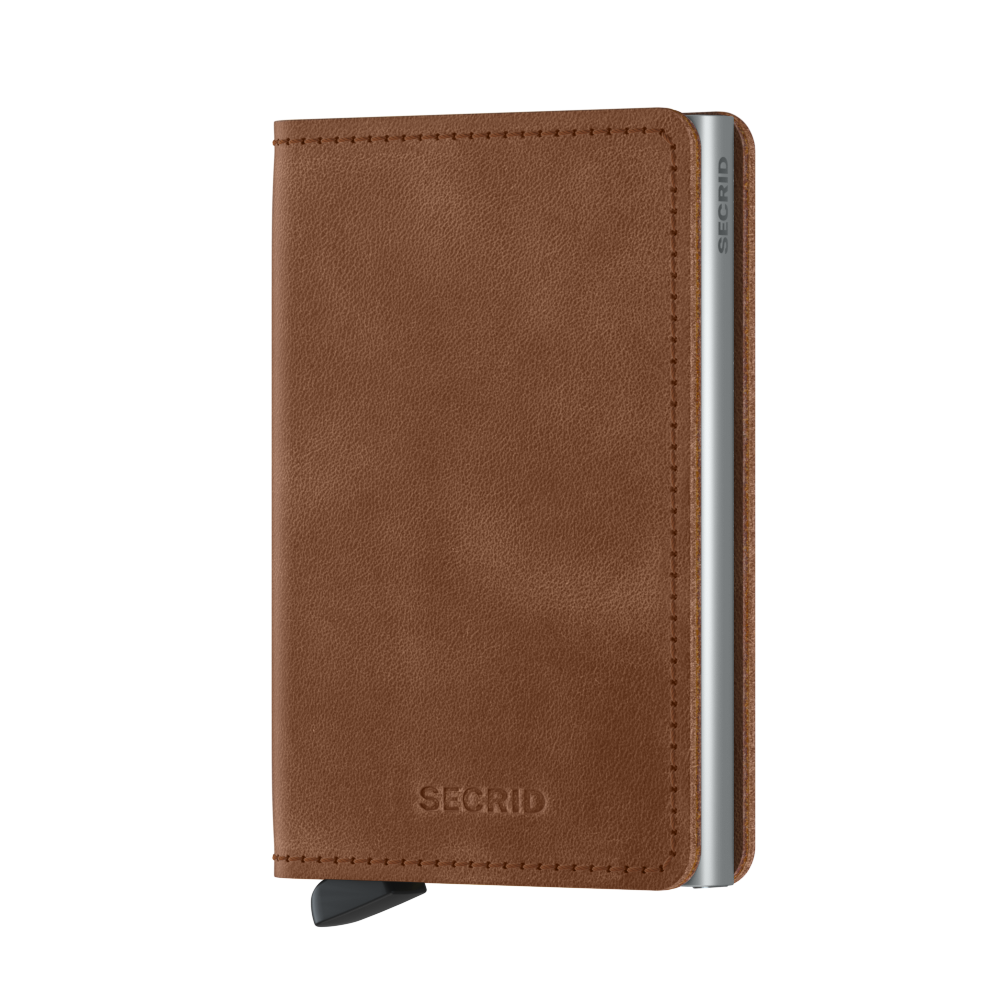 Secrid Slimwallet Vintage Cognac Silver Leather Wallet