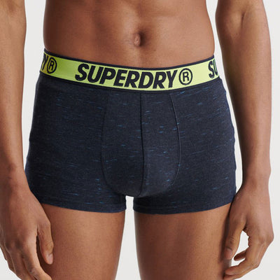 Superdry Mens Organic Cotton Trunk Boxer Shorts Double Pack Montana Blue Grit