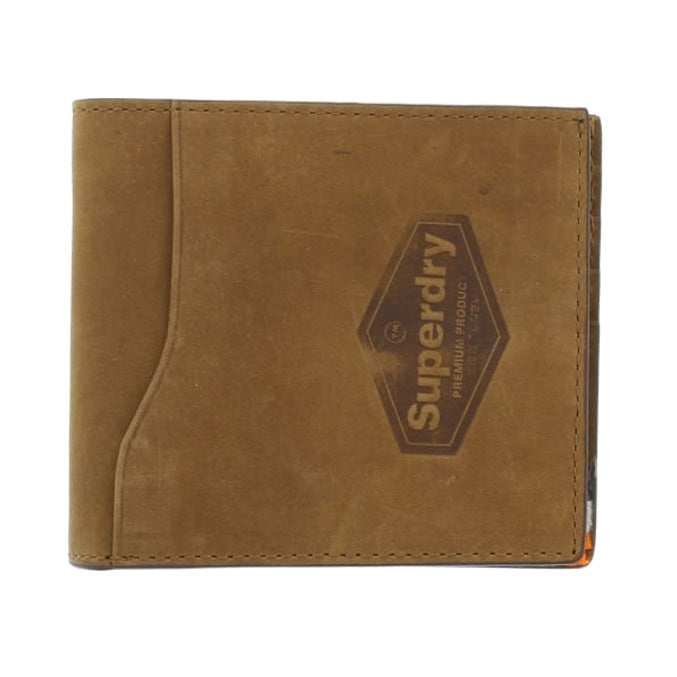 Superdry Windsor Leather Wallet Bifold Worn Tan Buff