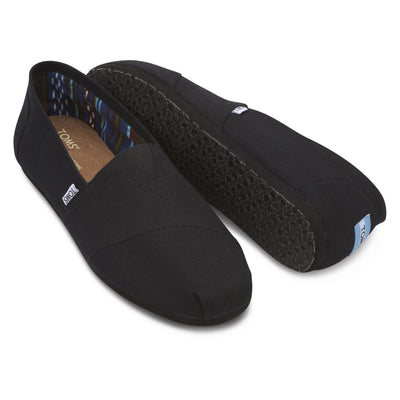 TOMS Mens Classics Canvas Black On Black Slip On Espadrilles