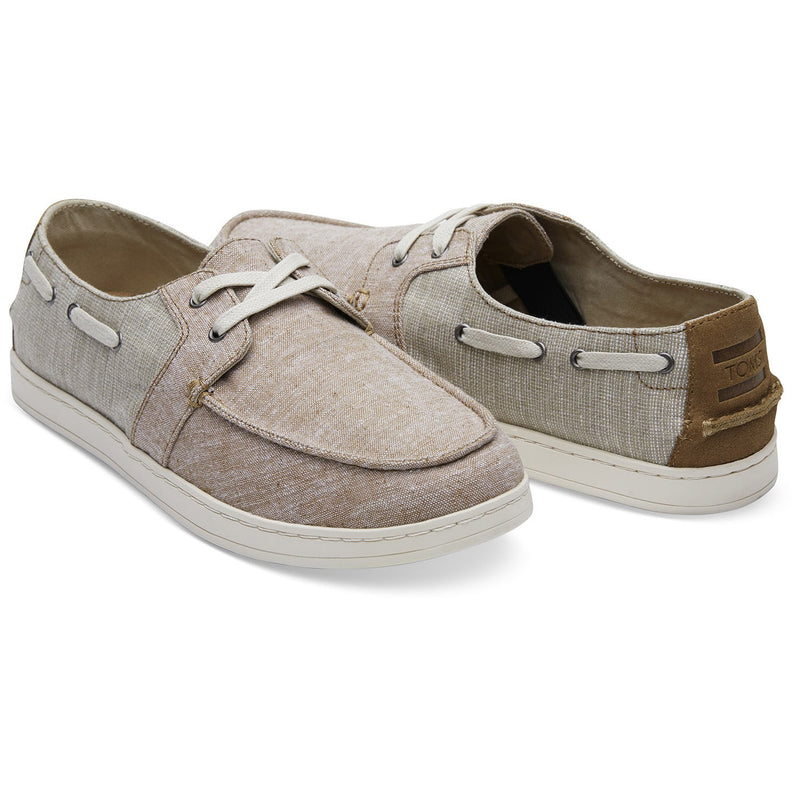TOMS Mens Culver Toffee Chambray Mix Canvas Boat Shoes