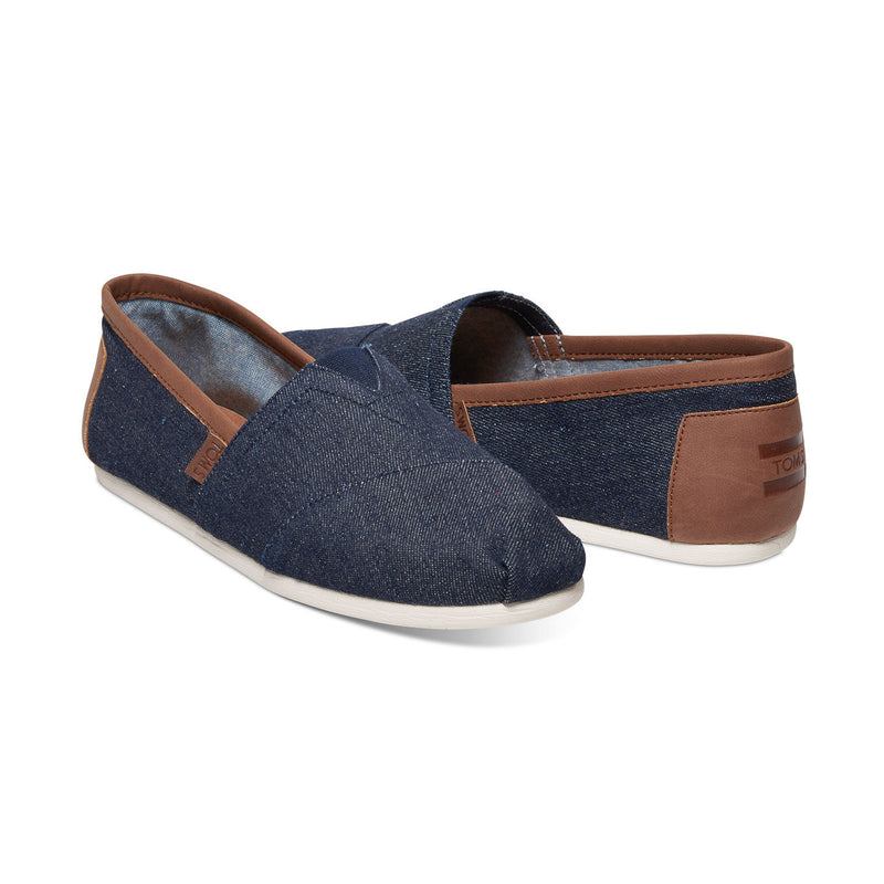 Toms Mens Classics Canvas Dark Denim With Brown Trim Espadrilles