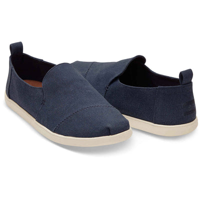 Toms Mens Navy Washed Canvas Deconstructed Alpargatas