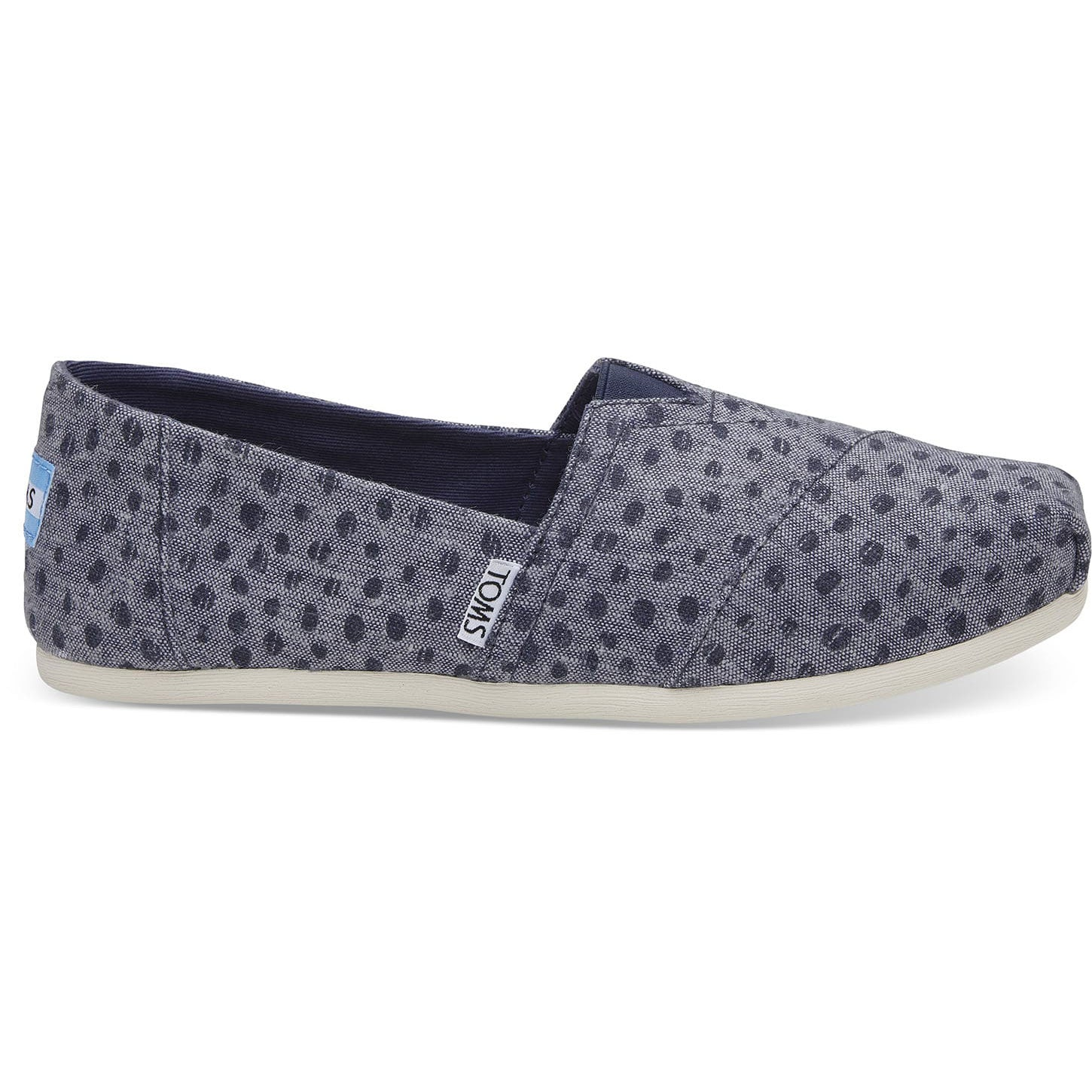 TOMS Womens Classics Navy Slub Chambray Dots Espadrilles Slip On