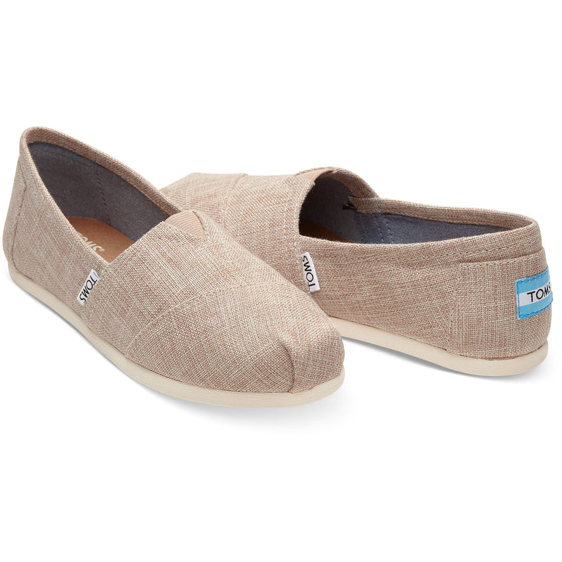 TOMS Womens Classics Pale Pink Metallic Woven Espadrilles Slip On
