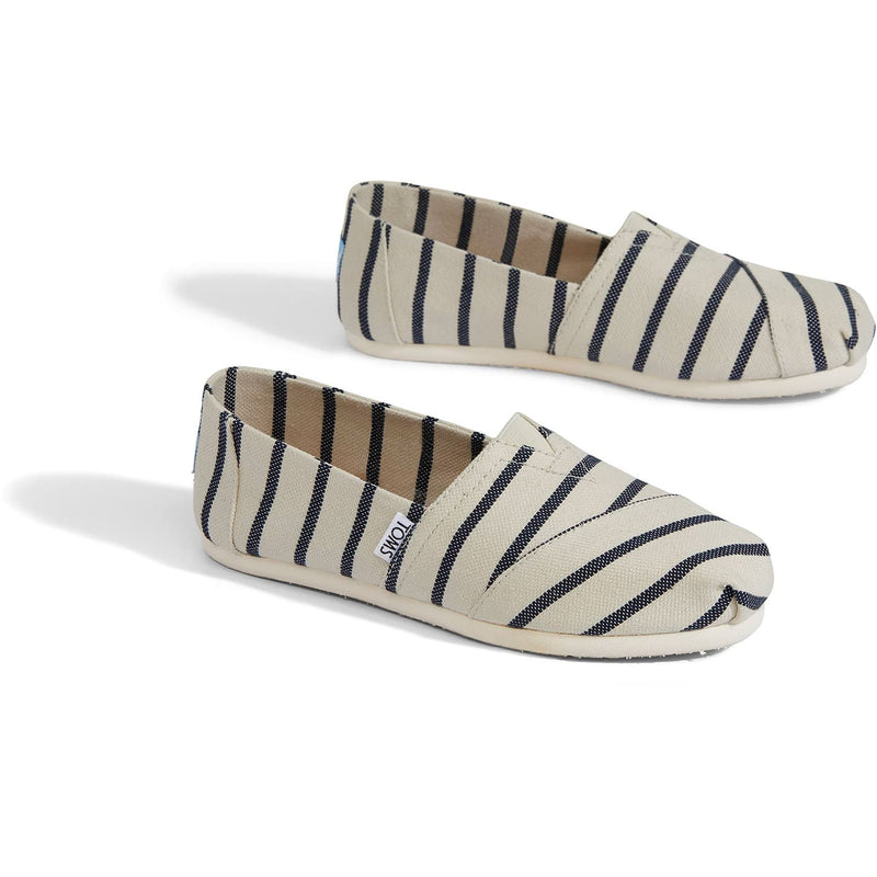 TOMS Womens Classics White Navy Riviera Stripe Espadrilles Slip On
