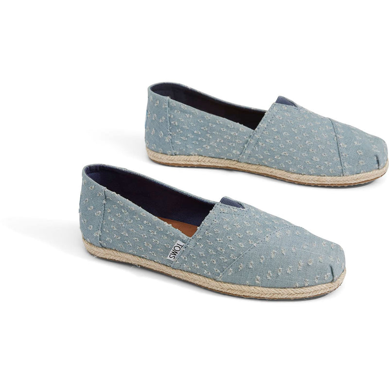 Toms Womens Seaglass Torn Denim Rope Sole Espadrilles Slip On