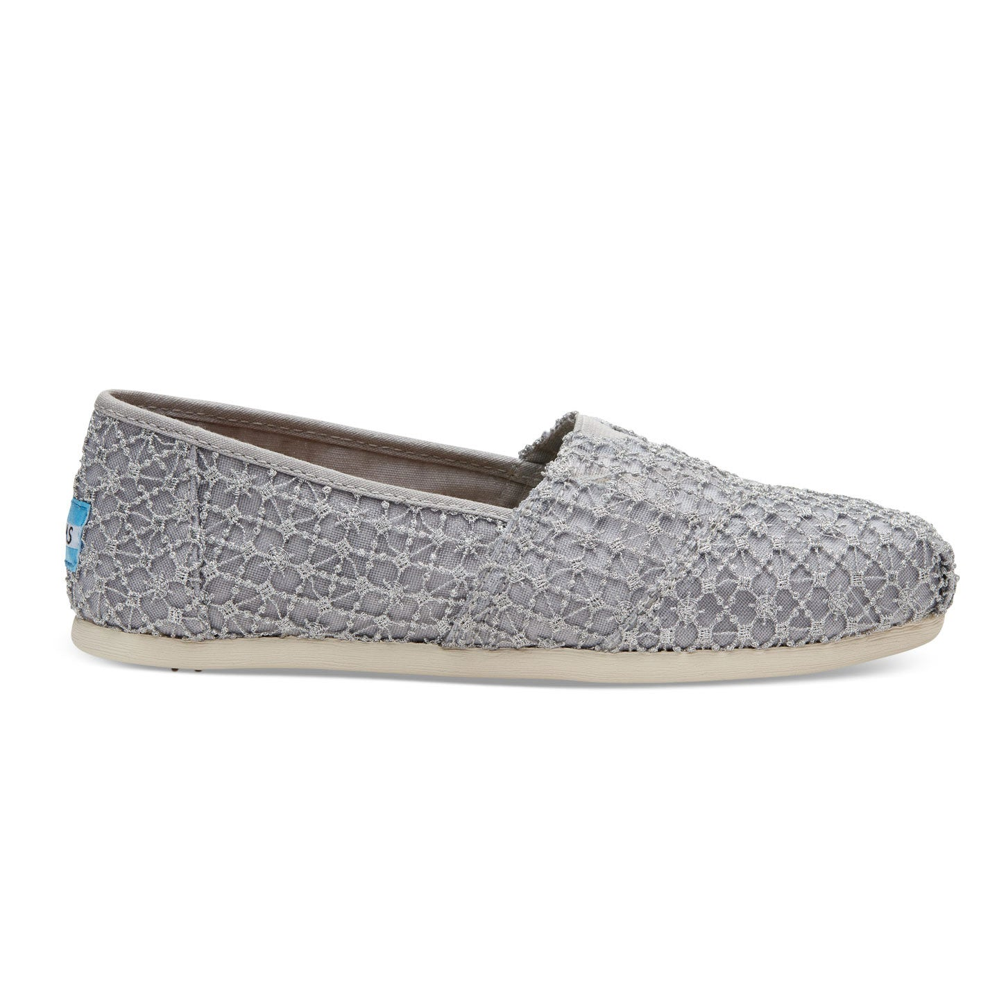 6defde8be3e TOMS Womens Classics Silver Crochet Lace Slip On Espadrilles
