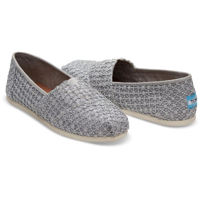 TOMS Womens Classics Silver Crochet Lace Slip On Espadrilles
