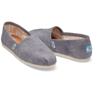 TOMS Womens Classics Slate Blue Washed Twill Espadrilles