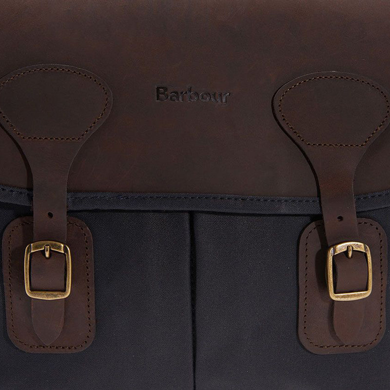 Barbour Wax Cotton and Leather Tarras Bag Navy