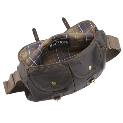 Barbour Wax Cotton and Leather Tarras Bag Olive