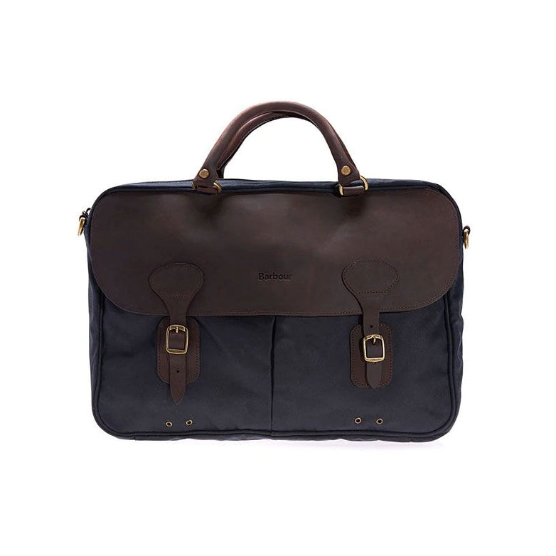 Barbour Wax Cotton and Leather Briefcase Navy