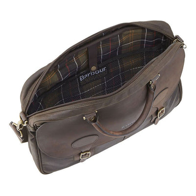 Barbour Wax Cotton and Leather Briefcase Olive
