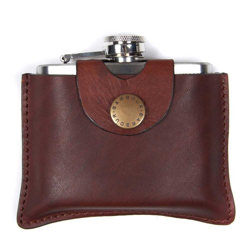 Barbour Hinged Hip Flask Dark Brown