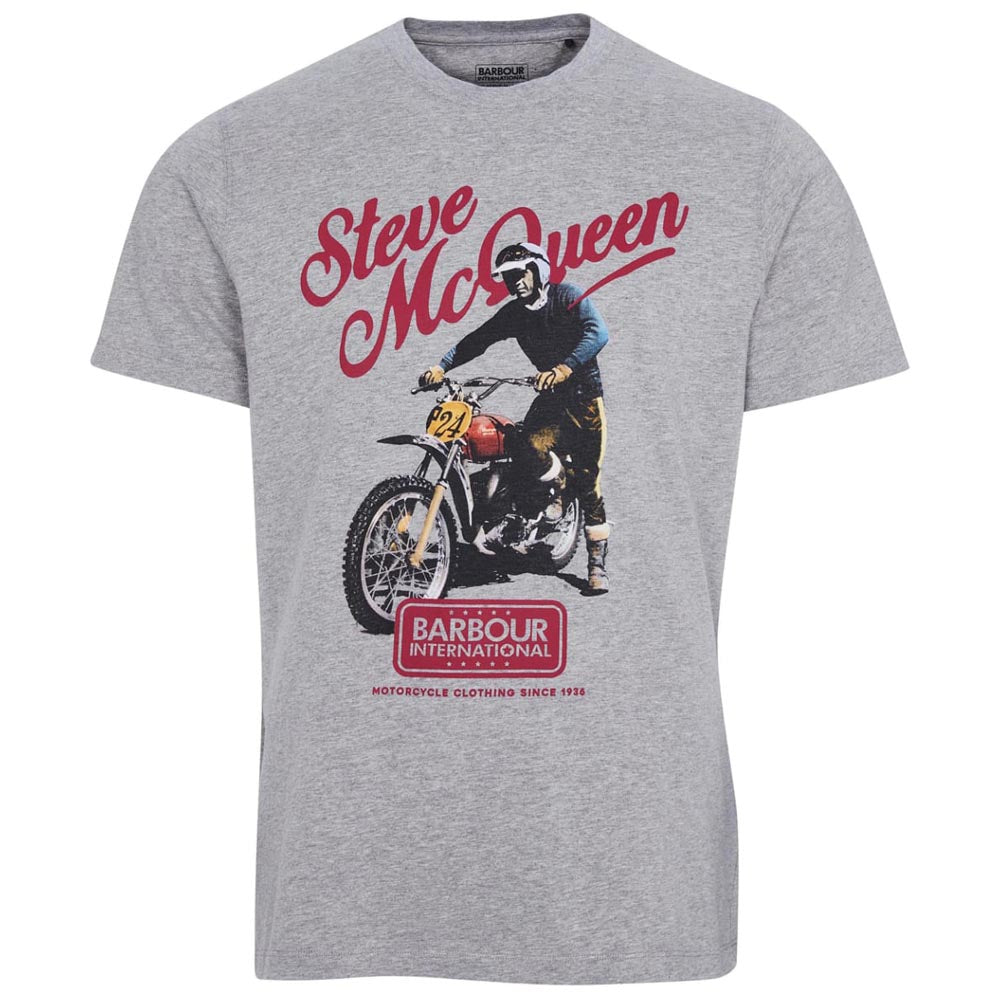 Barbour International Steve McQueen Enduro T-Shirt Grey Marl
