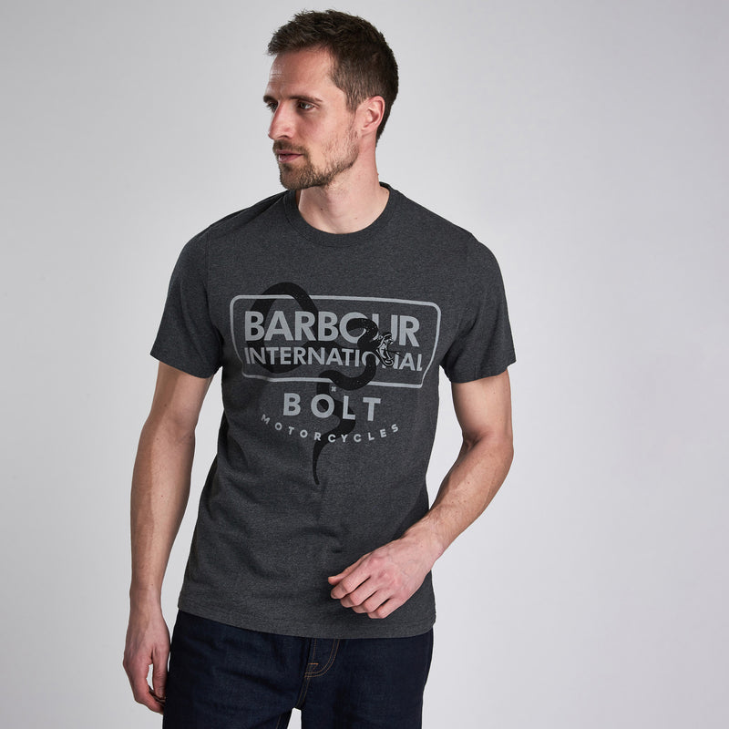 Barbour International Snake Bolt T-Shirt Charcoal Marl