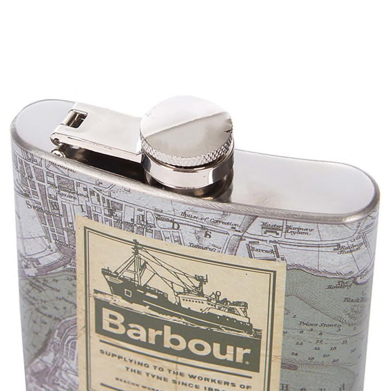 Barbour Archive Map 6oz Hip Flask Green