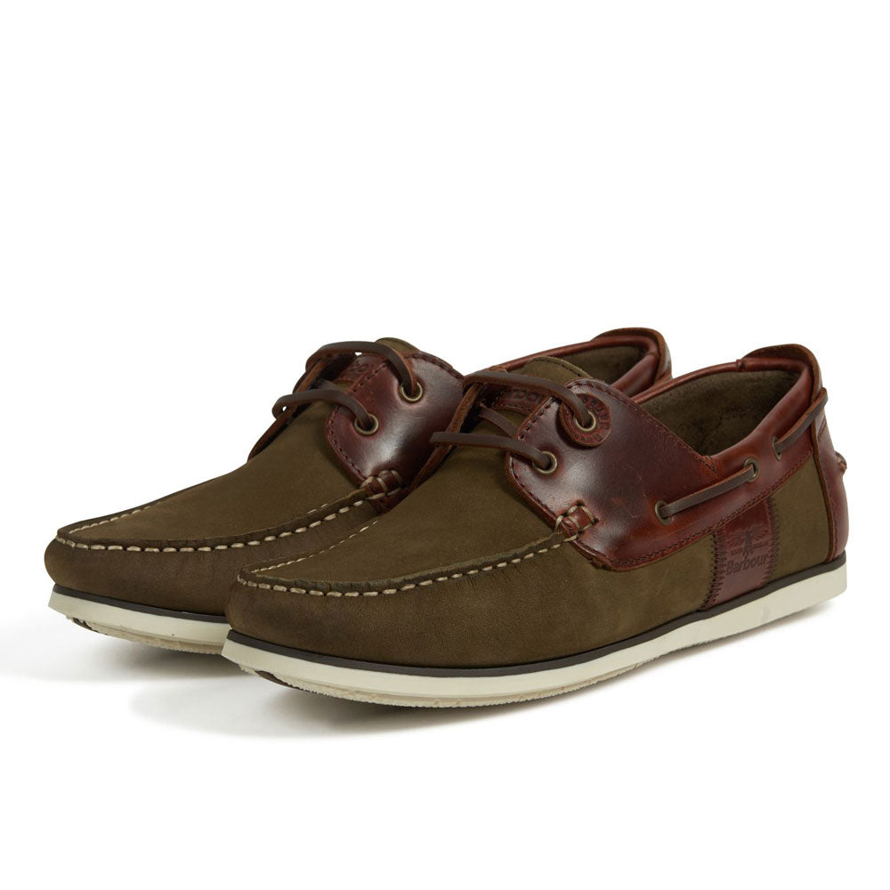 Barbour Mens Capstan Boat Deck Shoes In Olive and Mahogany Brown