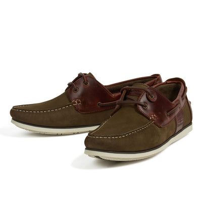 Mens Barbour Olive And Mahogany Deck Shoes New For Spring Summer 19
