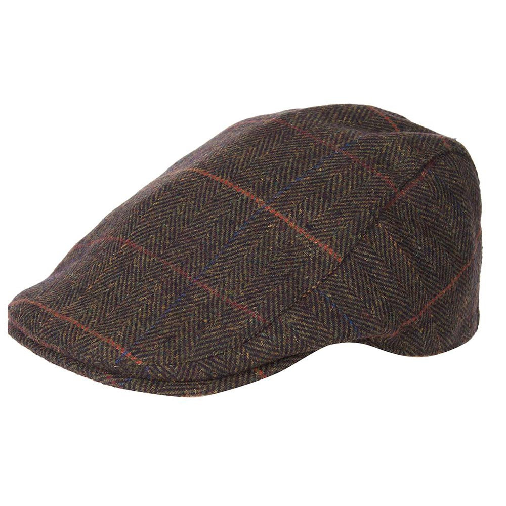 Barbour Cheviot Flat Cap Olive Herringbone Tweed