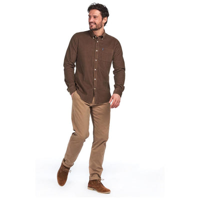 Barbour Cord 2 Tailored Long Sleeve Shirt Brown