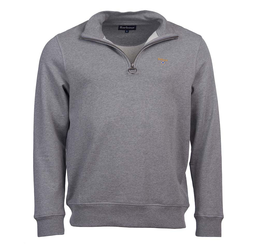 Barbour Mens Saltire Crest Half Zip Sweater Grey Marl