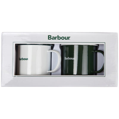 Barbour Enamel Mug Gift Set White and Green