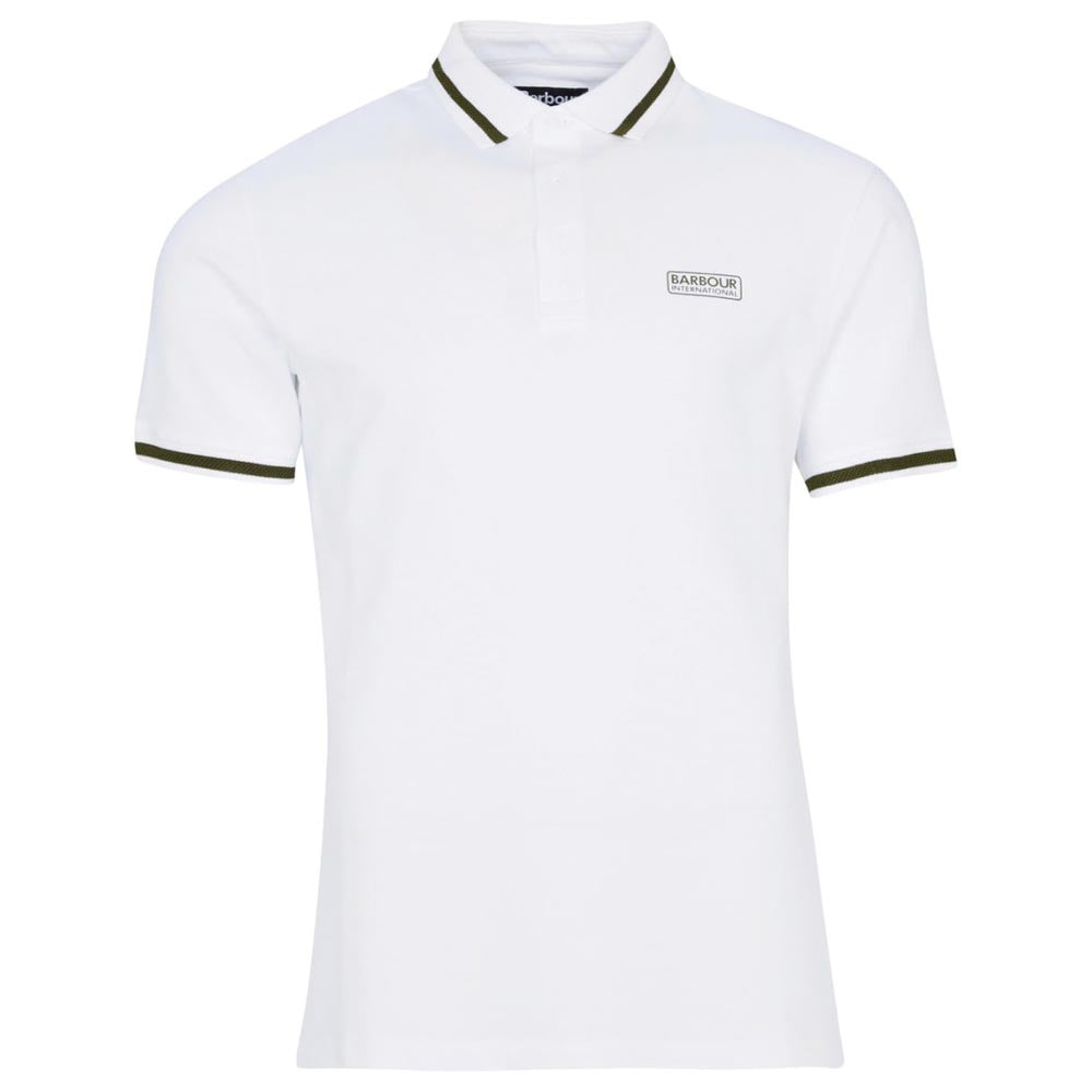 Barbour International Grid Tipped Polo Shirt White