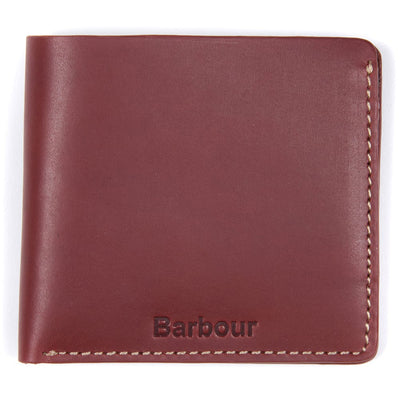 Barbour Hadleigh Leather Bifold Wallet Chestnut Brown