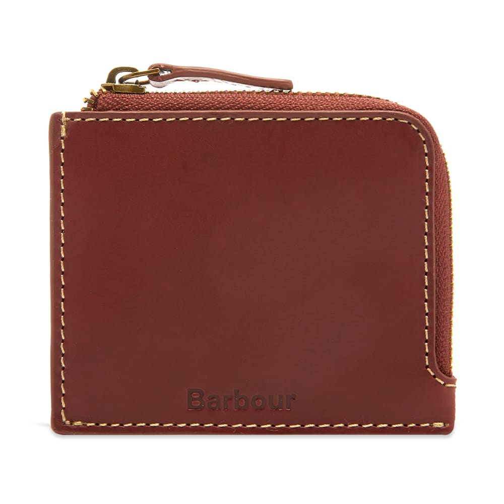 Barbour Hadleigh Leather Zip Wallet Chestnut Brown