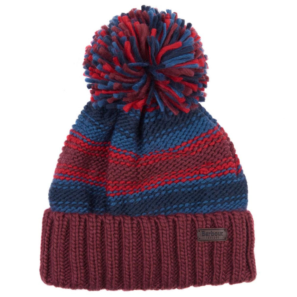 Barbour Harrow Stripe Pom Pom Beanie Ruby