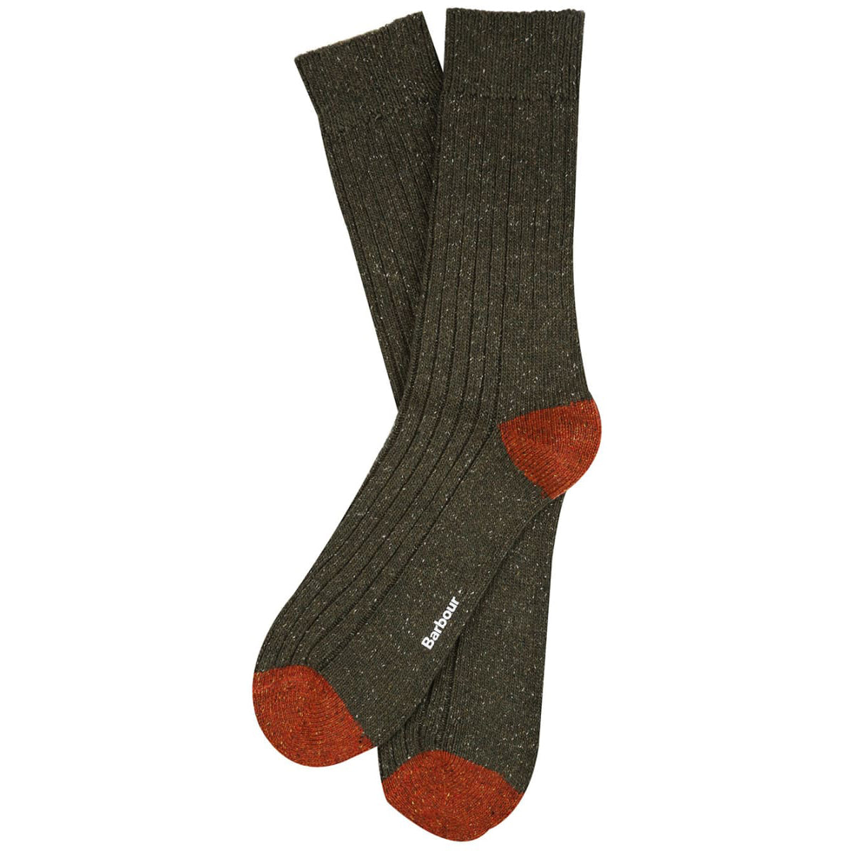 Barbour Houghton Sock Olive and Burnt Orange