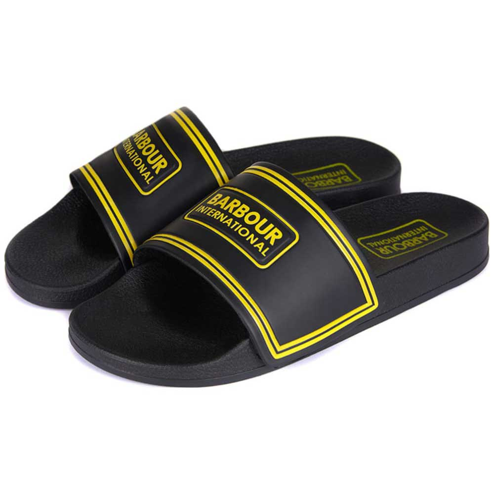 Barbour International Men's Pool Sliders Black Yellow