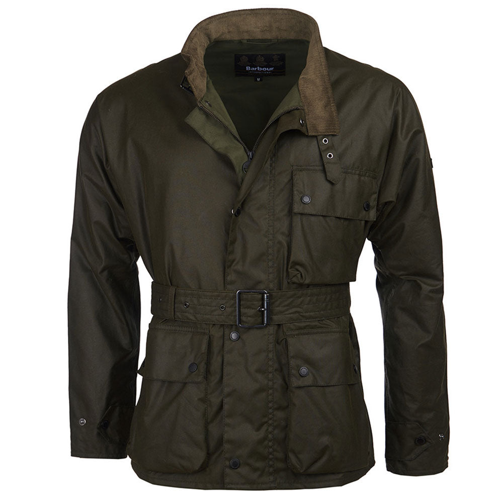 Barbour International Trajan Wax Jacket In Olive Green