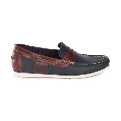 Barbour Keel Slip On Driving Style Boat Shoes In Navy/Brown