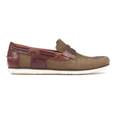 Barbour Keel Olive and Mahogany Slip On Driving Style Boat Shoes