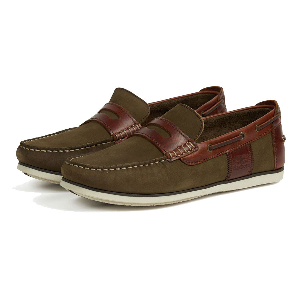 Driving Style Slip On Boat Shoes in Olive Green and Mahogany From Barbour Footwear