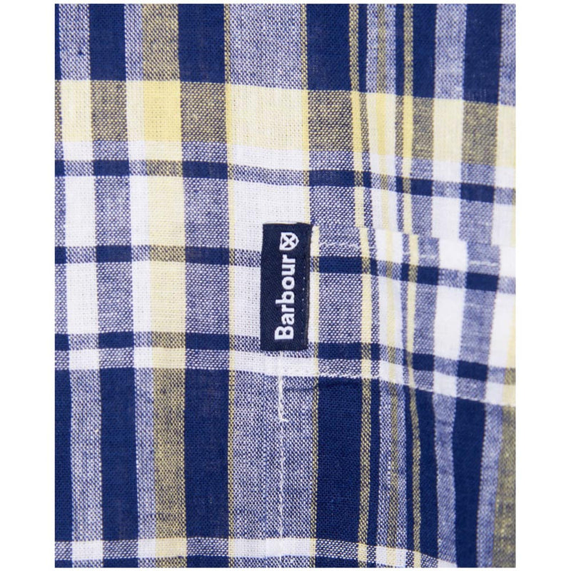 Barbour Men's Linen Mix 2 S/S Summer Shirt Navy