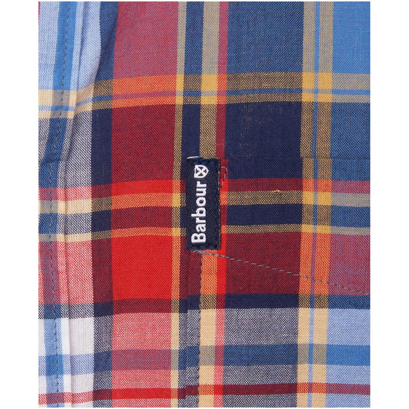 Barbour Men's Madras 9 S/S Tailored Shirt Mid Blue Check